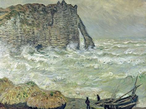 Rough Sea at Etretat, 1883 Impressão giclée