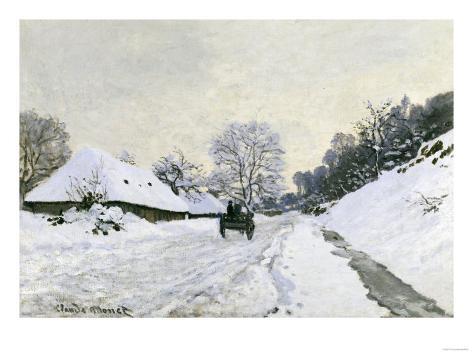 Route in the Snow near Honfleur, c.1867 Giclee Print