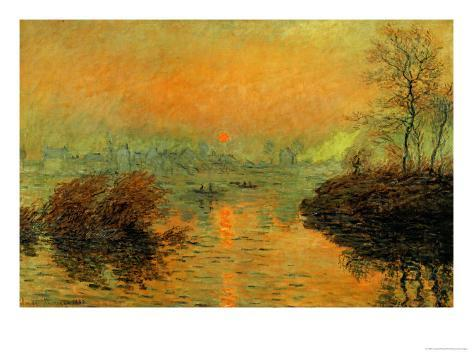 Setting Sun on the Seine at Lavacourt, Effect of Winter, 1880 Giclee Print