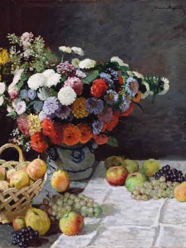 Claude Monet Still Life With Flowers And Fruit Giclee Paper Print Poster