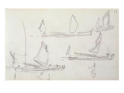 Study for London Series, Boats on the Thames (Pencil on Paper) Lámina giclée