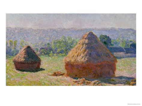 The Haystacks, or the End of the Summer, at Giverny, 1891 Giclee Print