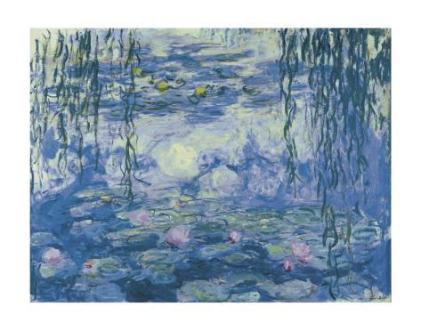 Water Lilies and Willow Branches Art Print