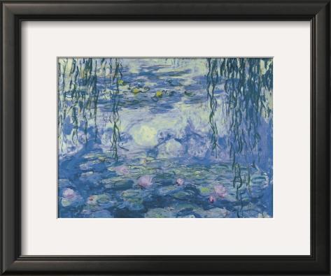 Water Lilies and Willow Branches Impressão artística emoldurada