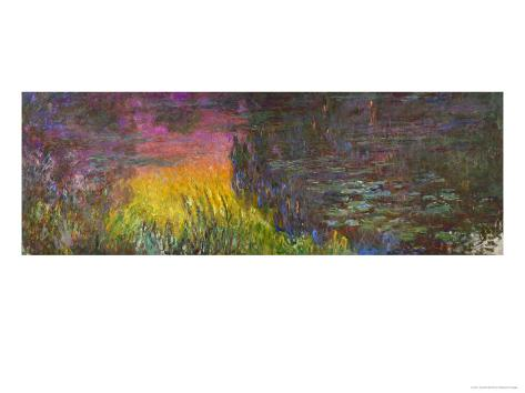 Waterlilies, Sunset Giclee Print