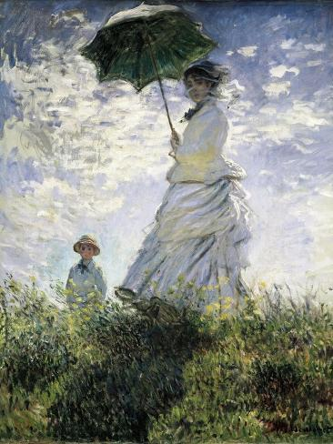 Woman with a Parasol - Madame Monet and Her Son Art Print