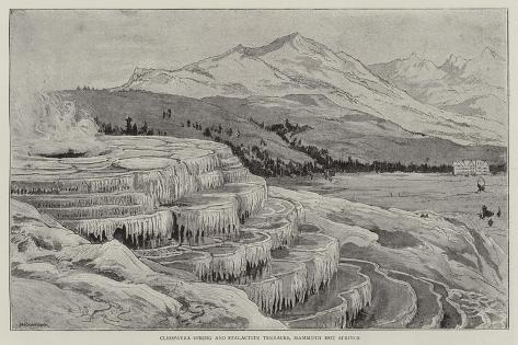 Cleopatra Spring and Stalactite Terraces, Mammoth Hot Springs Giclee Print