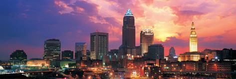 Cleveland Skyline at Sunrise Stretched Canvas Print