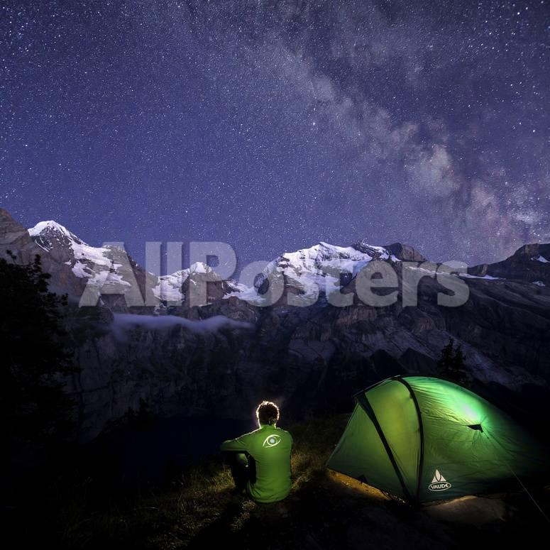 Night camping around Lake Oeschinensee Bernese Oberland Kandersteg Canton  of Bern Switzerland Europ