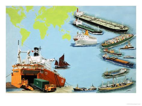 Montage of Ships from the Very Large Crude Carrier to Far Smaller Cargo and Passenger Ships Giclee Print