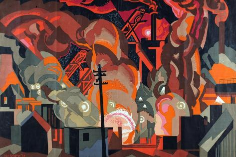 A Blast Furnace, from the Series 'Empire Building Makes Busy Factories', 1927 Giclee Print