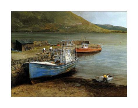 Fishing Boats on Lake Connemara Art Print