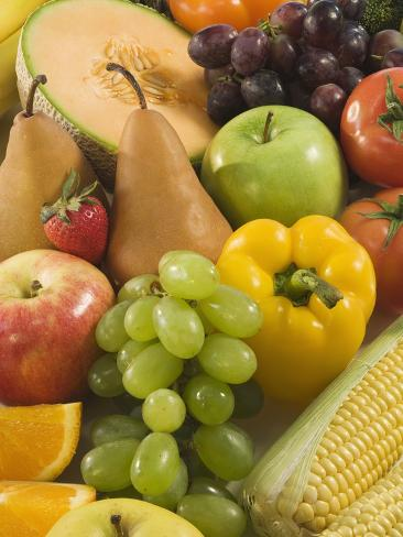 Close up of Fresh Fruits and Vegetables Stretched Canvas Print