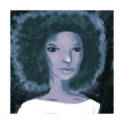 Close-Up of Woman with Afro and White Blouse Stampa artistica