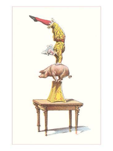 Clown Balancing on Pig Art Print
