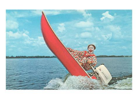 Clown Wind Surfing with Outboard Konstprint