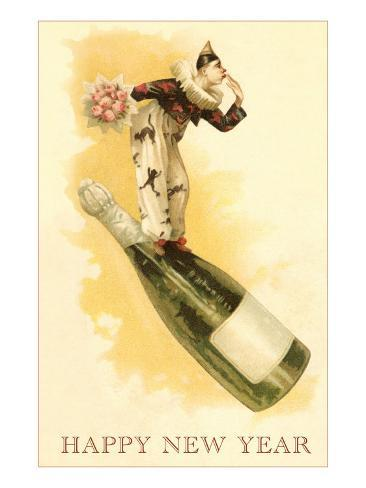 Clown with Bouquet on Champagne Bottle Art Print