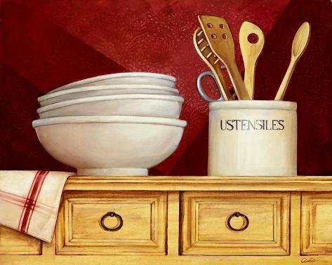 Estante de la cocina ii stretched canvas print by clunia - Estantes de cocina ...
