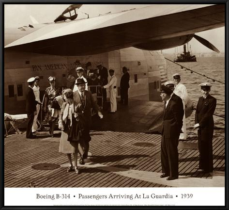 Boeing B-314, Passengers Arrive at La Gaurdia, 1939 Framed Canvas Print