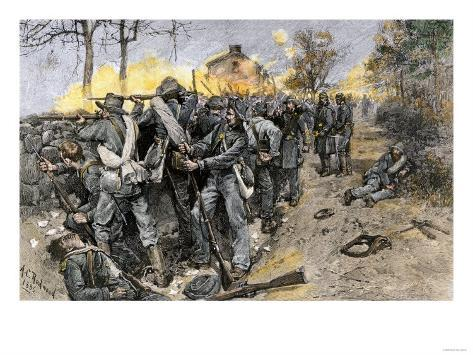 Cobb's and Kershaw's Confederate Troops Behind a Stone Wall Defending Fredericksburg, c.1862 Giclee Print