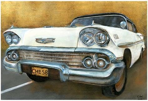 Chevrolet 58 Blanche Art Print
