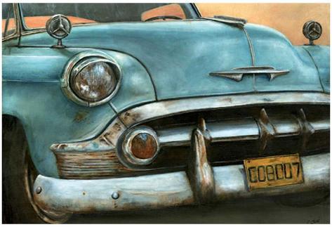 Chevrolet Bel Air Bleue Art Print