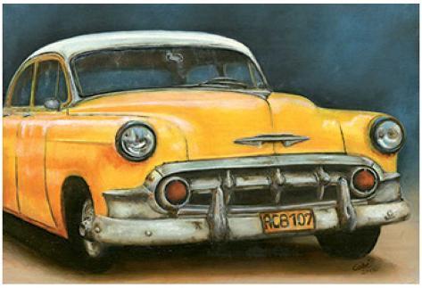 Chevrolet Bel Air Jaune Art Print