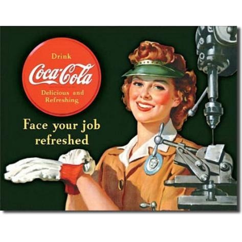 Coca Cola Coke Female Machinist Tin Sign