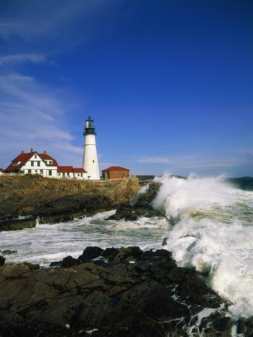 Lighthouse on Coastline Photographic Print