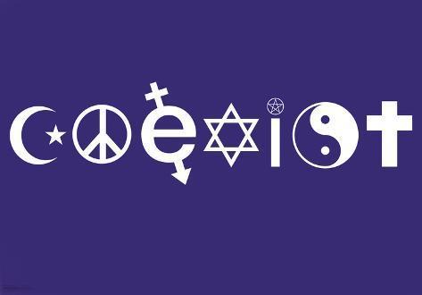 Coexist Symbols Motivational Poster Print Mini Poster