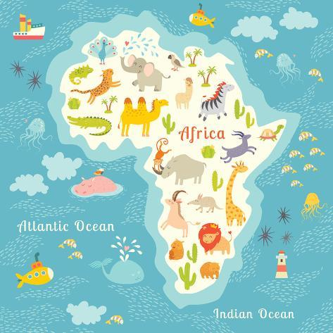 Animals world map africa beautiful cheerful colorful vector animals world map africa beautiful cheerful colorful vector illustration for children and kids gumiabroncs Gallery