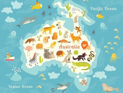 Animals world map australia vector illustration prints by animals world map australia vector illustration art print gumiabroncs Images