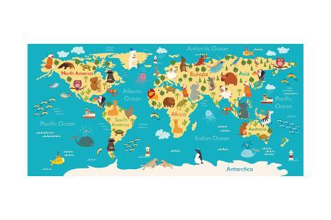 Animals world map pster por coffeeein en allposters animals world map lmina gumiabroncs Images