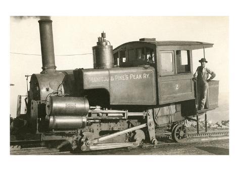 Cog Railway Locomotive, Pike's Peak, Colorado Premium Giclee Print