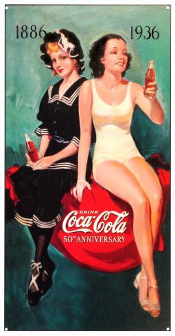 Coke 50th Bathers Tin Sign