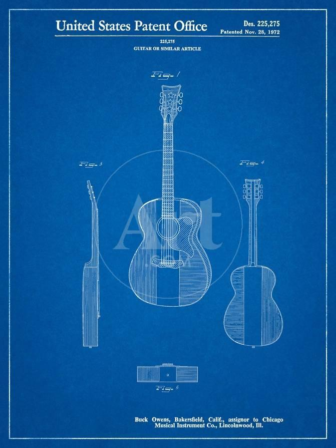 Buck Owens American Guitar Patent Art By Cole Borders Allpostersca