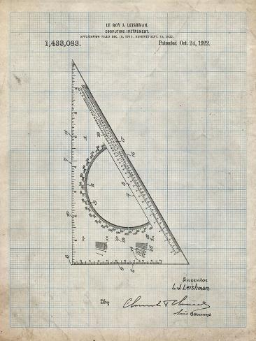 pp786 antique grid parchment drafting triangle 1922 patent poster