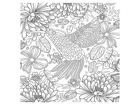 Colibri Tropical Flower Coloring Art Láminas en AllPosters.es