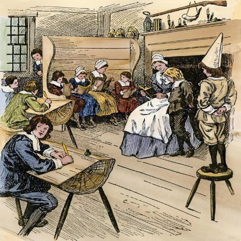 Colonial Schoolroom with a Child in a Dunce Cap Giclee Print