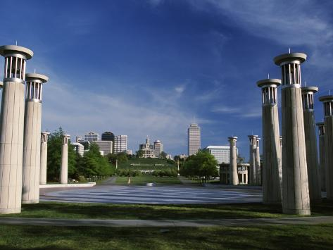 Colonnade in Park, 95 Bell Carillons, Bicentennial Mall State Park, Nashville, Tennessee Stretched Canvas Print