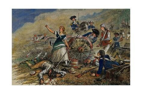 color engraving of molly pitcher at the battle of monmouth giclee