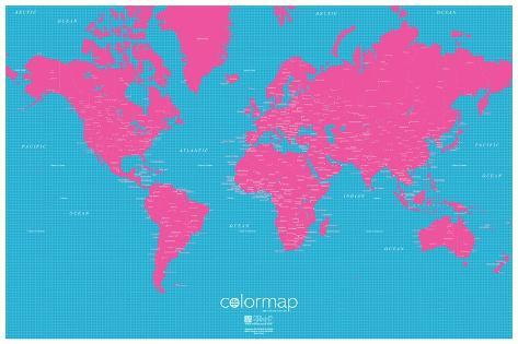 Color map pop pink and blue map poster posters allposters color map pop pink and blue map poster gumiabroncs Images