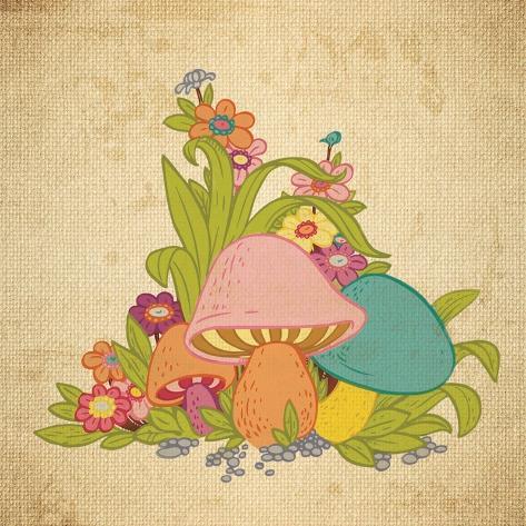 Colorful Mushrooms Taidevedos