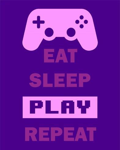 eat sleep game repeat purple posters by color me happy at