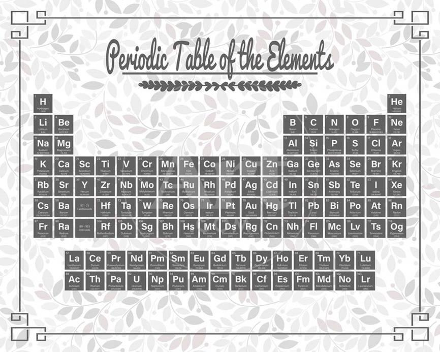 Periodic Table Gray And Red Leaf Pattern Light Prints By Color Me