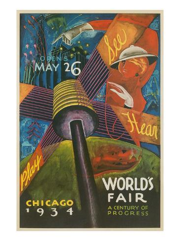 Colorful Chicago Worlds Fair Poster Art Print