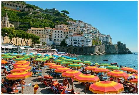 Colorful View of Almafi Coast Italy Poster