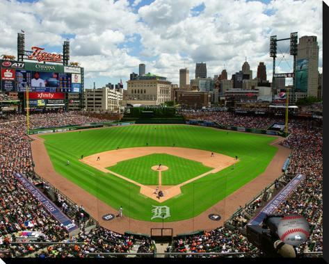 Comerica park stretched canvas print for Comerica park wall mural