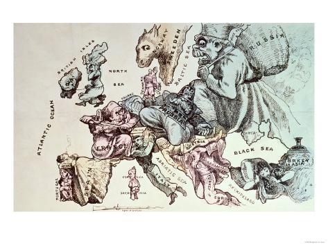 Comic Map of Europe by Frederick Rose, c.1870 Giclee Print