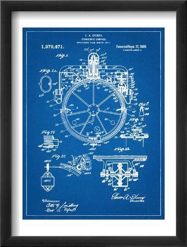 Compass Patent 1918 Framed Art Print